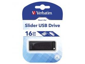 Verbatim USB flash disk, USB 2.0, 16GB, Slider, Store N Go, černý, 98696, USB A, s výsuvným konektorem