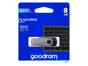 Goodram USB flash disk, USB 2.0, 8GB, UTS2, černý, UTS2-0080K0R11, USB A, s otočnou krytkou