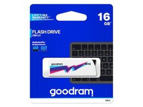 Goodram USB flash disk, 2.0, 16GB, UCL2, bílý, UCL2-0160W0R11, podpora OS Win 7