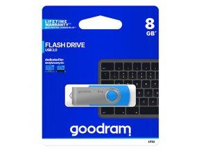 Goodram USB flash disk, USB 2.0, 8GB, UTS2, modrý, UTS2-0080B0R11, USB A, s otočnou krytkou