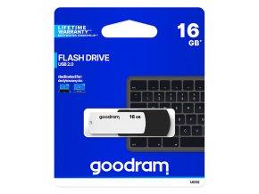 Goodram USB flash disk, 2.0, 16GB, UCO2, černý, UCO2-0160KWR11, podpora OS Win 7