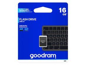 Goodram USB flash disk, 2.0, 16GB, UPI2, černý, UPI2-0160K0R11, podpora OS Win 7