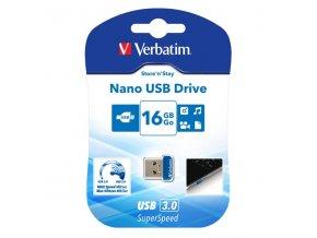 Verbatim USB flash disk, USB 3.0 (3.2 Gen 1), 16GB, Nano, Store N Stay, modrý, 98709, USB A