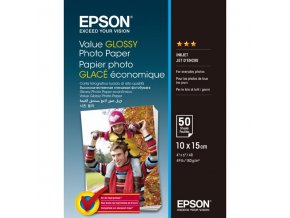 Epson Value Glossy Photo Paper, foto papír, lesklý, bílý, 10x15cm, 183 g/m2, 50 ks, C13S400038, inkoustový