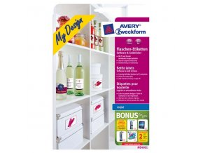 Avery Zweckform, samolepicí etikety, na láhve, A4, 90x120mm, 5 listů, pro inkoustové tiskárny, O