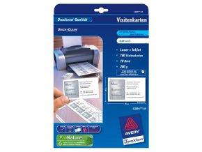 Avery Zweckform, vizitky, matné, bílé, A4, 200 g/m2, 85x54mm, 10 listů, pro laserové a inkoustové tiskárny, O