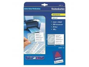 Avery Zweckform, vizitky, s hladkým okrajem, bílé, matné, A4, 185 g/m2, 85x54mm, 10ks/A4, 25 listů, pro inkoustové a laserové tisk