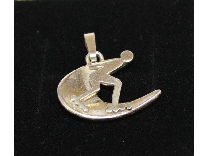 Sport-jewel stříbrný přívěsek - inline rychlobruslař SJP005