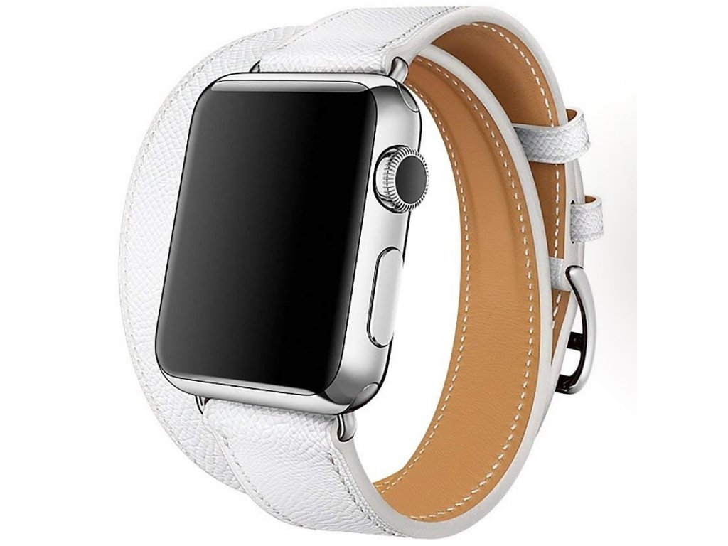 Innocent Double Leather Strap Apple Watch Band 42/44mm - White