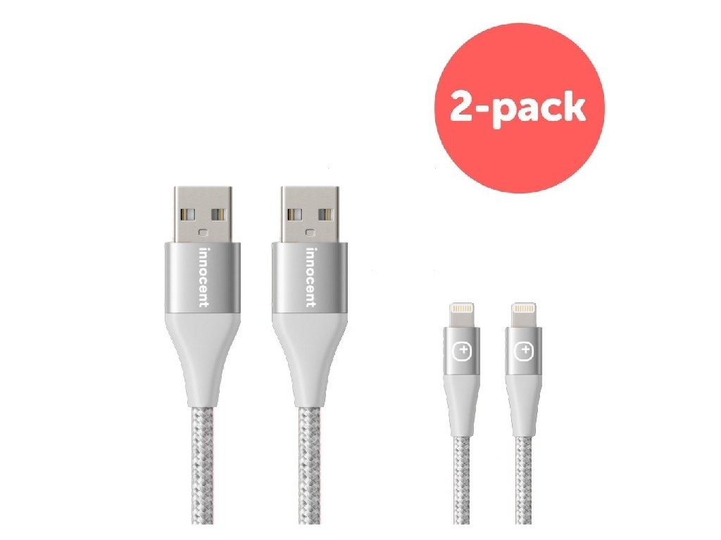 Innocent Flash FastCharge Lightning Cable 1,5m 2-pack - Silver