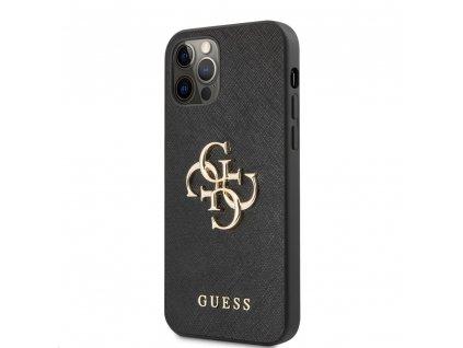 Guess Saffiano Big 4G Metal Logo Case iPhone 12/12 Pro - Black