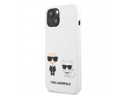 Karl Lagerfeld and Choupette Liquid Silicone Case iPhone 13 mini - White
