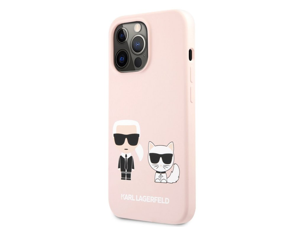 Karl Lagerfeld and Choupette Liquid Silicone Case iPhone 13 Pro - Pink