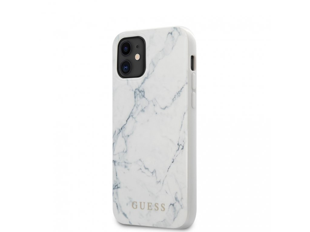 Guess Marble Design Case iPhone 12 mini - White