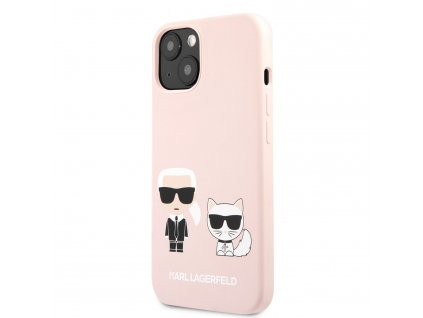 Karl Lagerfeld and Choupette Liquid Silicone Case iPhone 13 mini - Pink