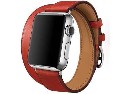 Innocent Double Leather Strap Apple Watch Band 42/44mm - Red