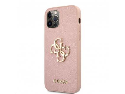 Guess Saffiano Big 4G Metal Logo Case iPhone 12 Pro Max - Pink