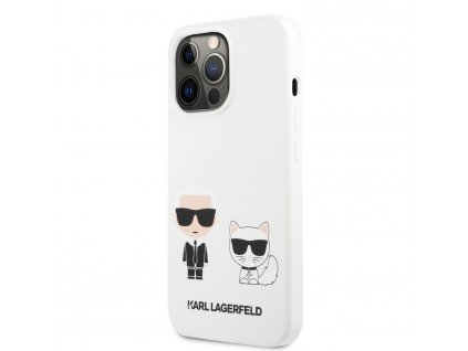 Karl Lagerfeld and Choupette Liquid Silicone Case iPhone 13 Pro - White