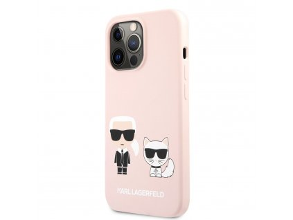 Karl Lagerfeld and Choupette Liquid Silicone Case iPhone 13 Pro Max - Pink