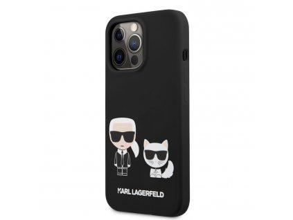 Karl Lagerfeld and Choupette Liquid Silicone Case iPhone 13 Pro Max - Black