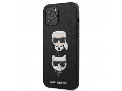 Karl Lagerfeld Saffiano K&C Heads Case iPhone 12 Pro Max - Black