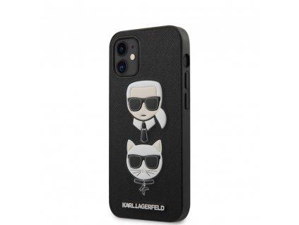 Karl Lagerfeld Saffiano K&C Heads Case iPhone 12 mini - Black