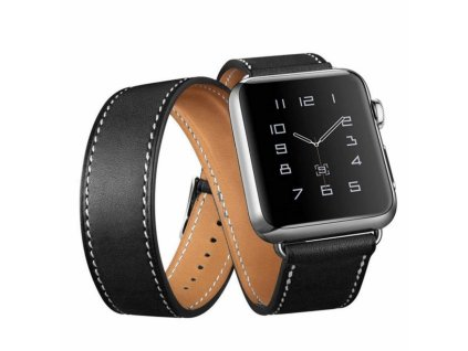 Innocent Double Leather Strap Apple Watch Band 42/44mm - black