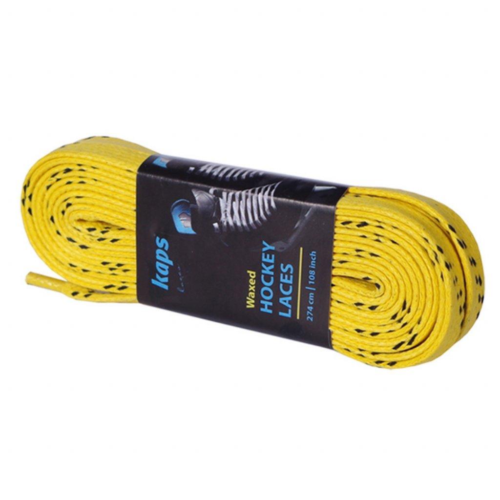 Voskové tkaničky do bruslí Kaps žluté s obalem