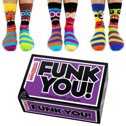 Pánske veselé ponožky United Odd Socks FUNK YOU (1)