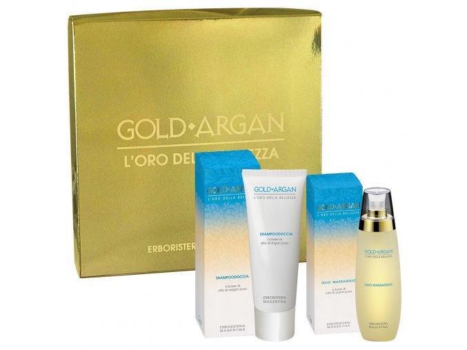 cofanetto gold argan shampoodoccia olio massaggio 2 pz
