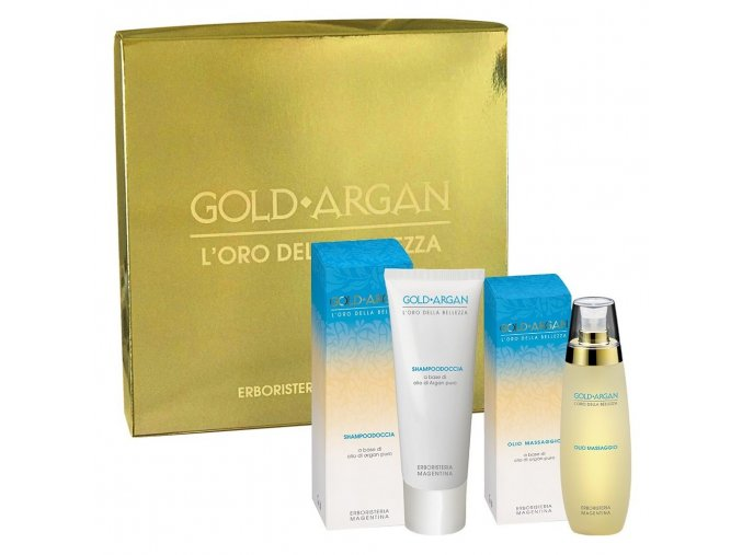 644 cofanetto gold argan shampoodoccia olio massaggio 2 pz