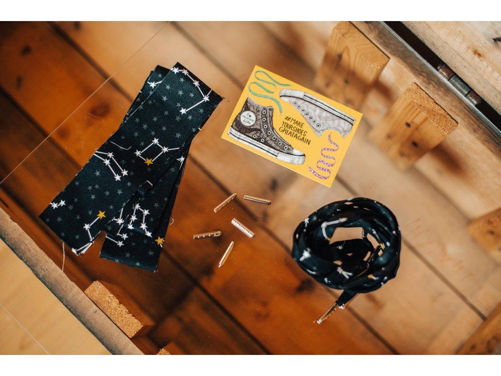 Tkaničky z pytlíku - černé s hvězdami