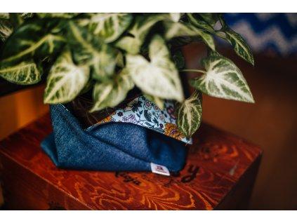 Bento bag - džíny + kytky
