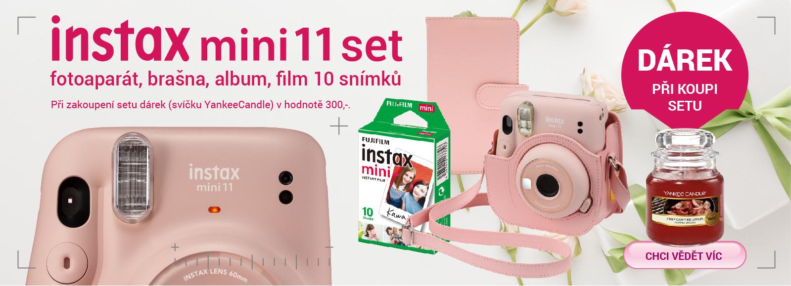 Fujifilm Instax Mini 11 Bundle Set + dárek svíčka YankeeCandle