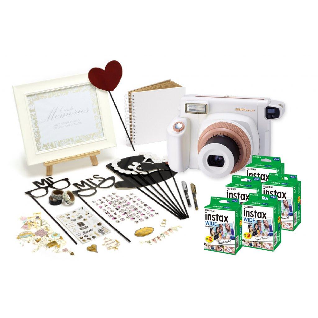 Fujifilm Instax Wide 300 Wedding set (fotoaparát, svatební příslušenství, film 100 snímků)
