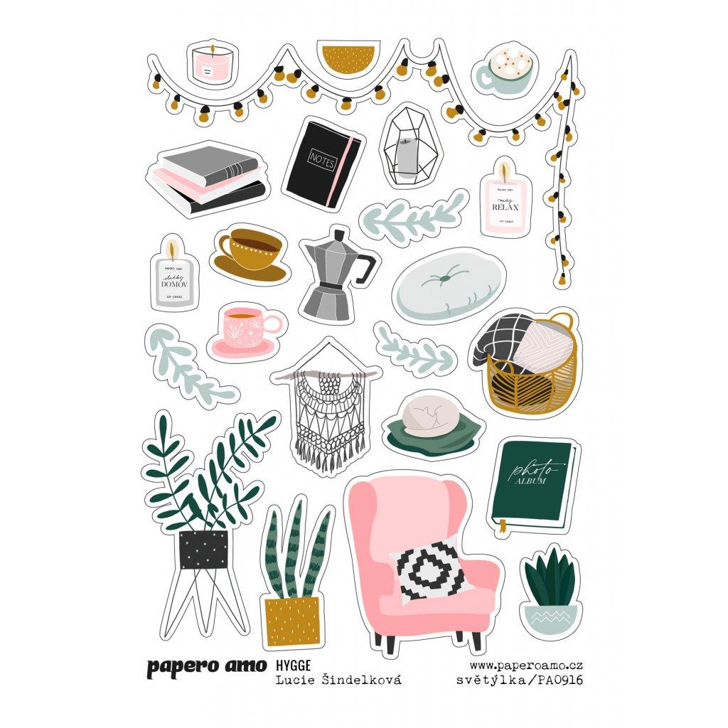 Papero amo - Samolepky arch - HYGGE / Světýlka