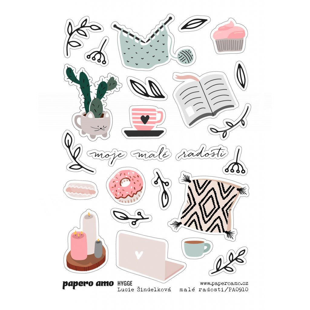Papero amo - Samolepky arch - HYGGE / Malé radosti