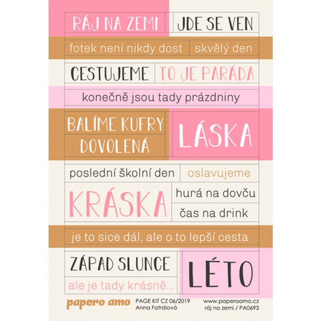 Papero amo - Samolepky arch - PAGE KIT 06-19 / Ráj na zemi
