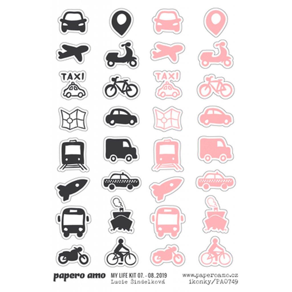 Papero amo - Samolepky arch - MY LIFE KIT 07-08 Ikonky