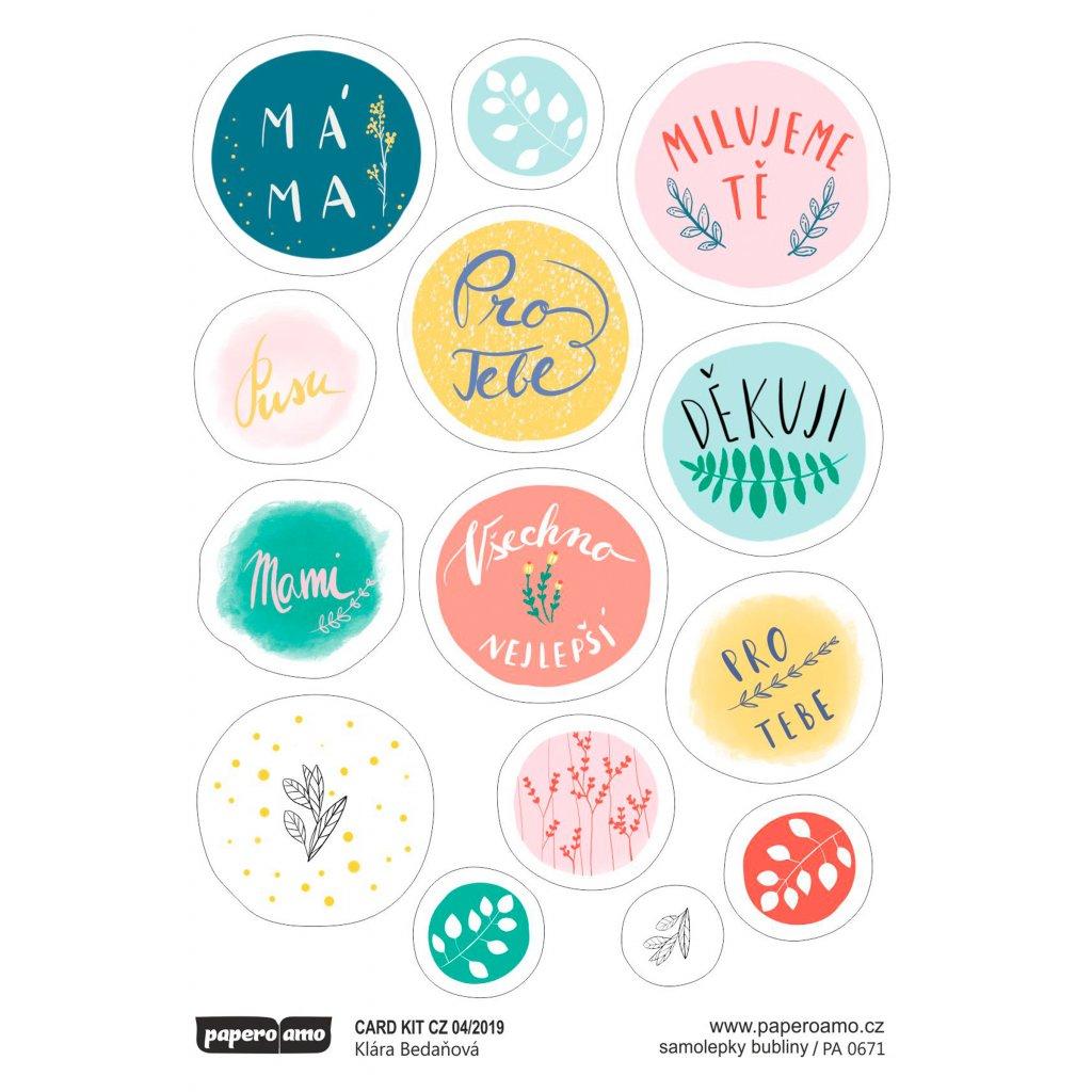 Papero amo - Samolepky arch - CARD KIT 04-19 / Bubliny