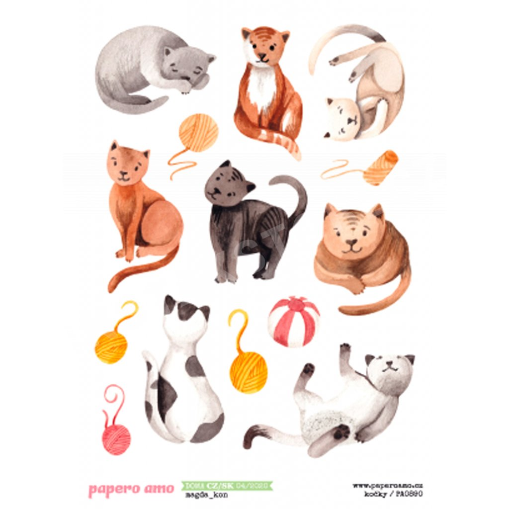 Papero amo - Samolepky arch - DOMA 04-20 / Kočky