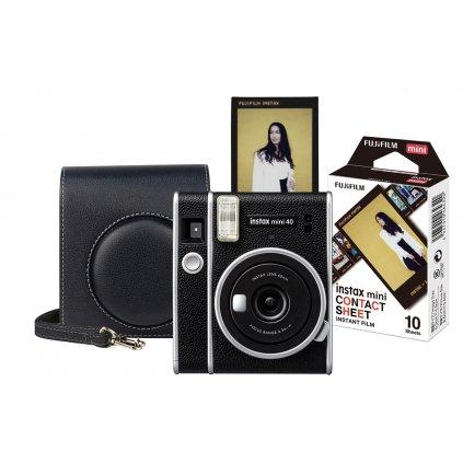 Fujifilm Instax Mini 40 Black Start Set (fotoaparát, brašna, film)