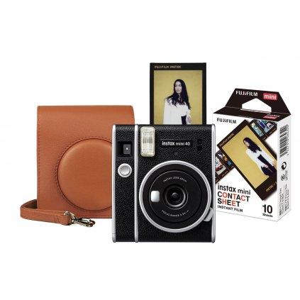 Fujifilm Instax Mini 40 Brown Start Set (fotoaparát, brašna, film)