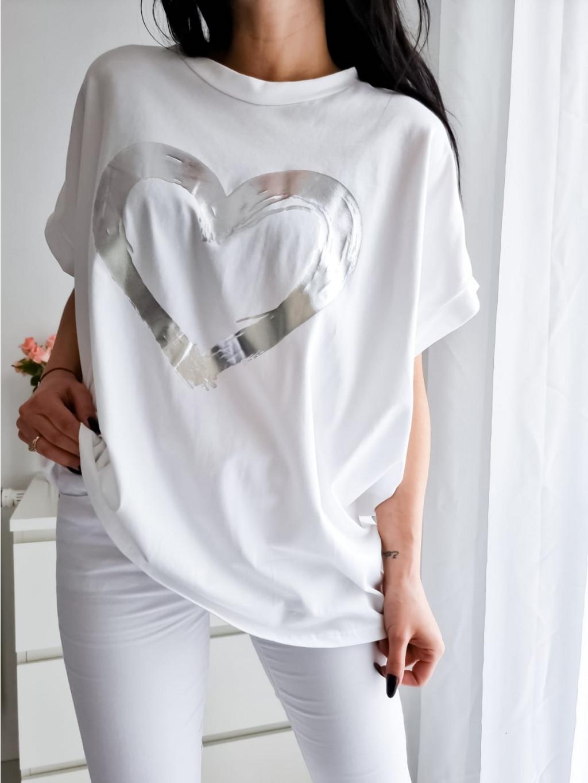 Dámske oversize tričko Heart - biele