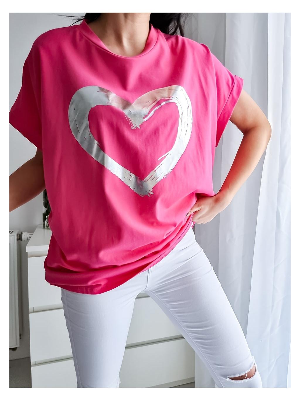 Dámske oversize tričko Heart - fuchsiové