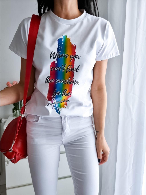 Dámske tričko Rainbow - biele