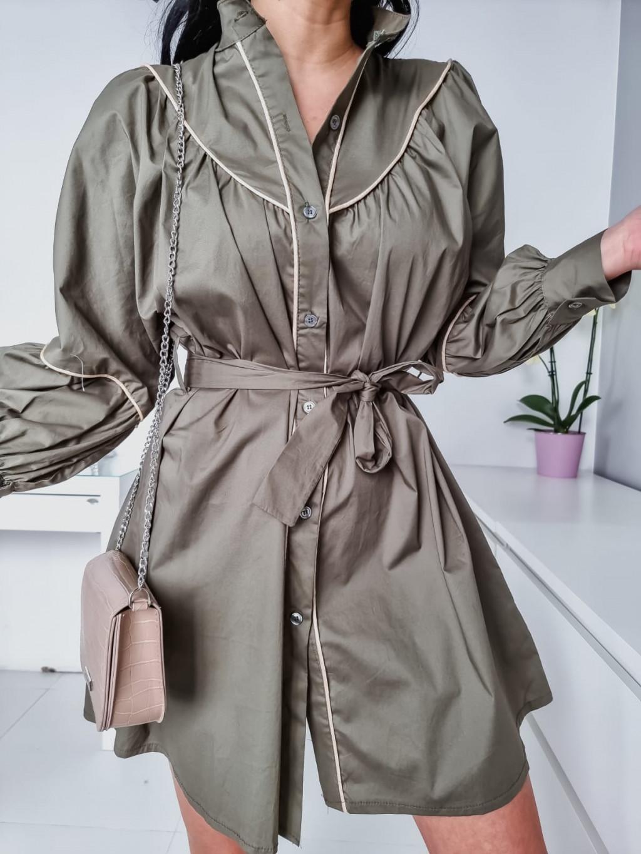 Dámske košeľové šaty Katrina - khaki