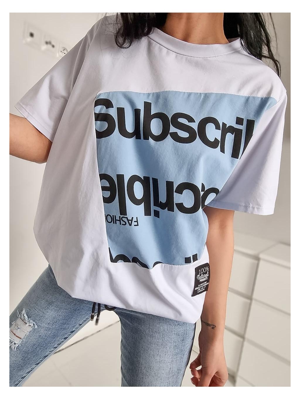 Dámske Oversize tričko Subscrible - modré