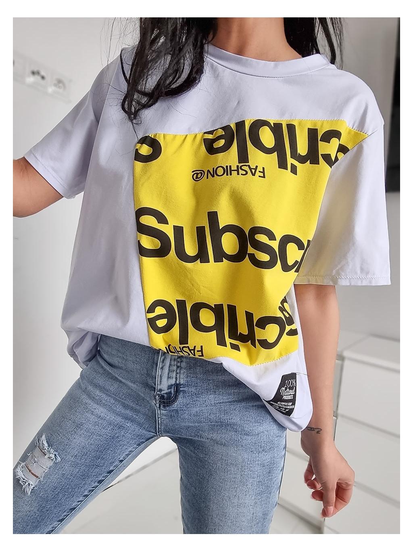 Dámske Oversize tričko Subscrible - žlté