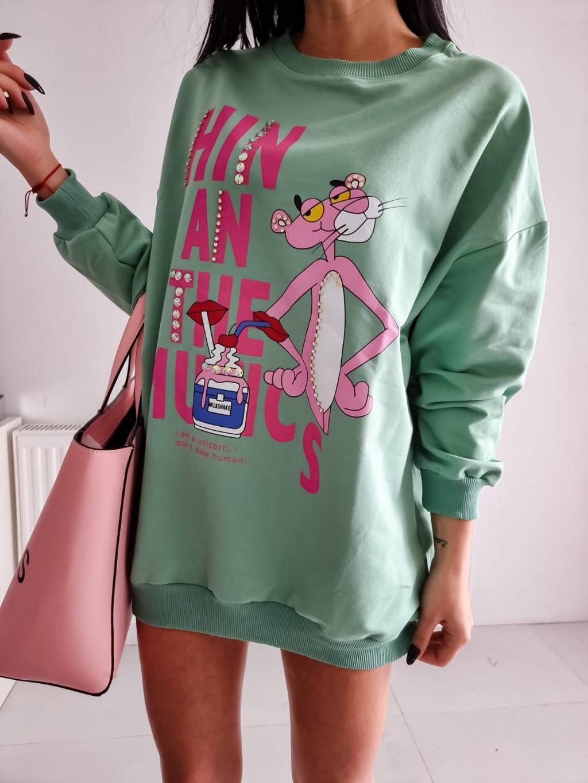 Dámska mikina Pink Panter - zelená